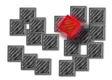 grey över red Arkivfoton