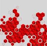 Grey abstract background with red geometric pattern. Vector illustration.r Stock Illustration