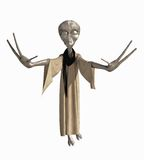 Grey Alien Creature. Grey robed alien science fiction creature with hands outstretched, 3d digitally rendered illustration isolated on a white background Royalty Free Stock Photography