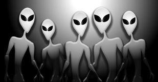 Grey Alien Invasion Figures Big Eyes stock illustration