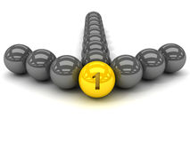 Grey arrow of the balls with the gold leader in front. Stock Photo