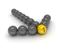 Grey arrow of the balls with the gold leader in front. Concept 3D illustration Stock Image