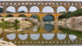 Grey autumn day. The well-known antique bridge-aqueduct Pont du Gard in Provence Royalty Free Stock Photos