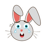 Grey avatar rabbit with emotional crying face, graphic Stock Photography
