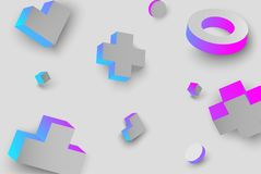 Grey background with colour 3d geometric figures. Grey background with blue and pink 3d geometric figures pattern. Vector illustration Royalty Free Stock Photos