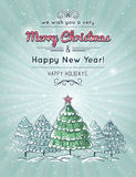 Grey background with forest of christmas tree Stock Photo