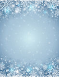 Grey background with  frame of snowflakes and stars,  vector Stock Photos
