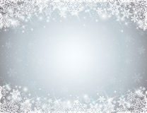 Grey background with  frame of snowflakes. Vector Royalty Free Stock Images