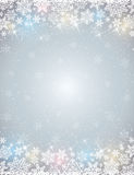 Grey background with  frame of snowflakes Royalty Free Stock Photography