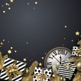 Grey 2018 background with gifts and clock. Stock Image