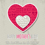 Grey background with hearts and wishes text for Mothers Day Stock Photography