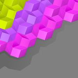 Grey background with multicolored volume cubes Royalty Free Stock Images