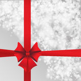 Grey background with red bow Royalty Free Stock Image