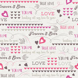 Grey background with red valentine heart and wishes text, vect Royalty Free Stock Photos