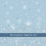Grey background of snowflakes with label, vector Royalty Free Stock Images