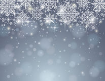 Grey background with snowflakes, vector. Illustration Stock Image