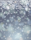 Grey background with snowflakes, vector. Grey background with many snowflakes, vector illustration Royalty Free Stock Photography