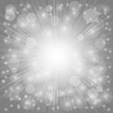 Grey Background. Sun Burst on . Ray Background with Stars Royalty Free Stock Images