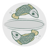 Grey background for text with the fishes, ripples, bubbles. Royalty Free Stock Photography