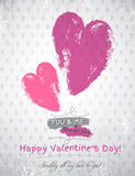 Grey background with two valentine hearts and wish Stock Images