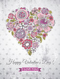 Grey background with valentine heart of spring flo Stock Images