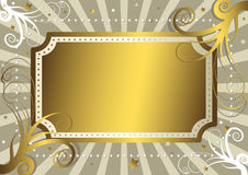 Grey Background With Gold Banner Stock Photos