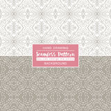 Grey backgrounds with seamless patterns. Ideal for printing. Onto fabric and paper or scrap booking. Vector illustration Stock Image