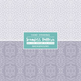 Grey backgrounds with seamless patterns. Ideal for printing onto. Fabric and paper or scrap booking. Vector illustration Royalty Free Illustration
