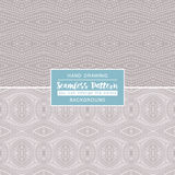 Grey backgrounds with seamless patterns. Ideal for printing. Onto fabric and paper or scrap booking. Vector illustration Stock Images