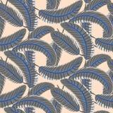 Grey banana palm leaves bold seamless vector pattern. Royalty Free Stock Photos