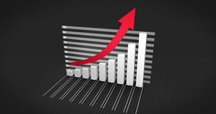 Grey bar chart growing with red arrow stock video