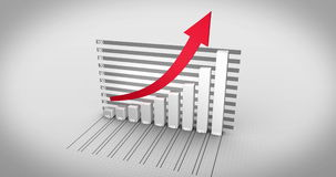 Grey bar chart growing with red arrow stock footage