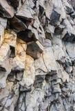 Grey basalt columns near Reynisdrangar beach, Iceland . Royalty Free Stock Photo