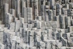 Grey basalt columns, Reynisdrangar, Iceand Stock Images