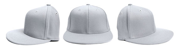Grey Baseball Cap at Different Angles. Three shots of a fitted grey hat from different angles isolated on a white background royalty free stock photos