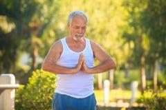 Grey Bearded Old Man in der weißen Weste zeigt Yoga im Park stockbild