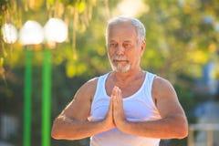Grey Bearded Old Man en el chaleco blanco muestra actitud de la yoga en parque fotografía de archivo libre de regalías