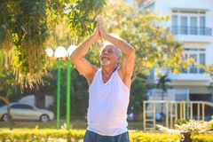 Grey Bearded Old Man en el chaleco blanco muestra actitud de la yoga en parque imágenes de archivo libres de regalías