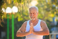 Grey Bearded Old Man in Wit Vest toont de Yoga in Park stelt royalty-vrije stock foto