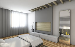 Grey bedroom. With big mirror Royalty Free Stock Images