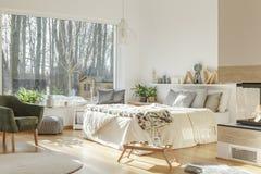Grey bedroom interior of house royalty free stock photo