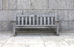 Grey bench. Empty grey bench in a park front view Stock Photography