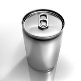 Grey beverage aluminium can. Isolated beverage aluminium can isolated on white background Stock Photography