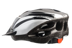 Grey bicycle cross country plastic helmet Stock Photos