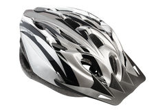 Grey bicycle cross country plastic helmet Stock Photo