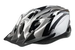 Grey bicycle cross country plastic helmet Royalty Free Stock Image