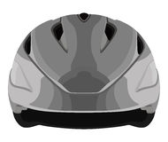Grey bicycle helmet. On a white background stock illustration