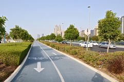 Grey bicycle path in Abu dabi Stock Photo