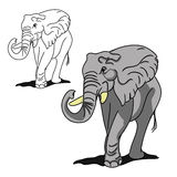 Grey big elephant (for coloring) Royalty Free Stock Photos