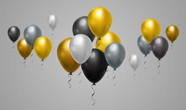Grey And Black Balloons Background jaune pour la décoration de Web et les événements de vacances Photographie stock